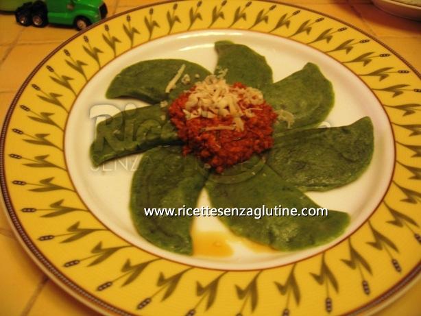 Ricetta Tortelli verdi ripieni di formaggio di fossa, radicchio rosso e noci senza glutine